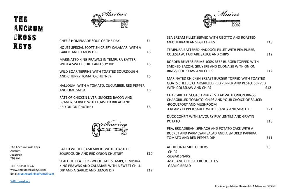Autumn pub menu front