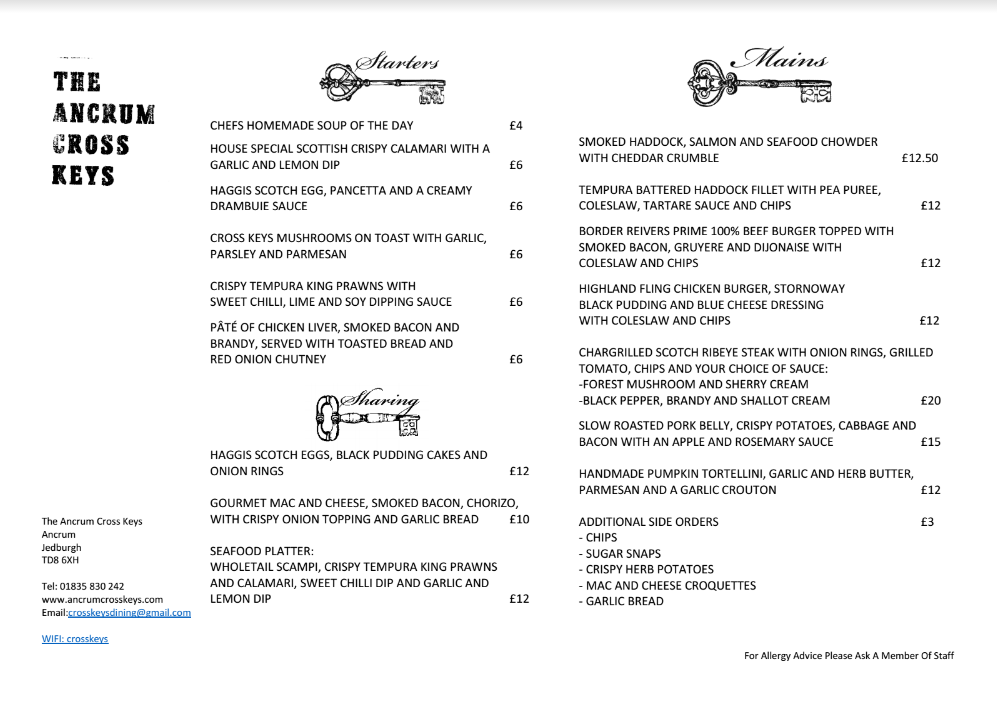 Pub January menu front