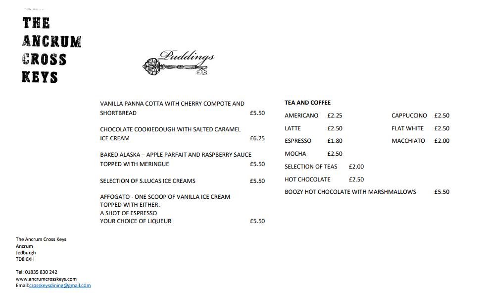 new pub menu rear